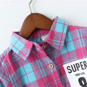 Girl's Dress Long Sleeve Plaid Pattern Bow Knot Kids' Dress For 2Y-9Y