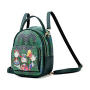 Women Green National Style Multifunctional  Shoulder Bags Crossbody Bags Backpack