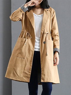Solid Color Lapel Pocket Long Sleeve Trench Coat