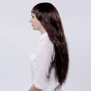 29 Inches Long Curly Wigs High-Temperature For Women With Neat Bangs