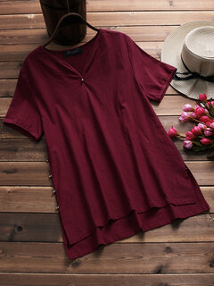 Casual Solid Button Irregular Short Sleeve Blouse for Women