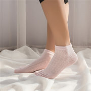 Women Summer Thin Cotton Breathable Five Toes Socks Solid Color Good Elastic Deodorant Ankle Socks