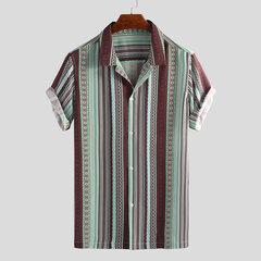 Chemises lâches à manches courtes à col rabattu et à rayures ethniques pour hommes