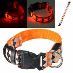 Dog LED Colar personalizado Poliéster Pet Light-up Flashing Glow Safety SML XL