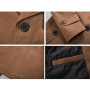 Fall Winter Mens Casual Jacket Turndown Collar Single Breasted Solid Color Buttons Trench Coat