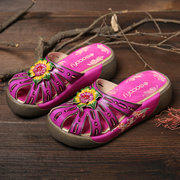 SOCOFY Retro Hollow Genuine Leather Hand Painted Floral Wood Grain Platform Daily Sandals