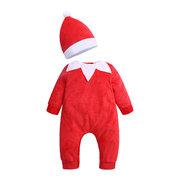 Natal estilo bonito bebê Romper com Chapéu para 0-24M