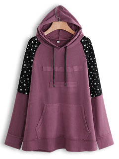 Star Print Patchwork Long Sleeve Hoodie for Women