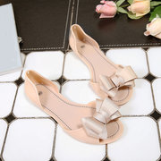 Jelly Butterfly Knot Peept Toe Slip On Casual Flat Beach Shoes