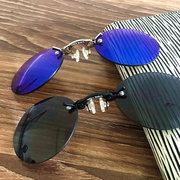Hommes Vintage Mini Personnalité Métal Clip Nez lunettes de soleil Vogue Voyage Lunettes de soleil rondes