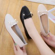 Flat Single Shoes Female Bow Tendon Soft Bottom Scoop Shoes Casual Fashion Bean Mother Anti-slip Social Work Shoes