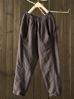 Vintage Pockets Solid Color Elastic Waist Harem Pants