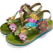 SOCOFY Sandales en cuir véritable super confortables avec motif de fleurs épissage couture