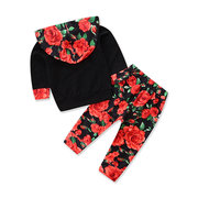 2pcs Floral Printed Girls Clothing Set Hoodies+Pants For 0-24M