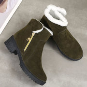 Suede Fold Zipper Warm Lining Ankle Boots For Women