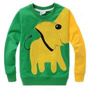 Camisolas do pescoço de grupo das crianças dos meninos da cópia do elefante para 3Y-11Y
