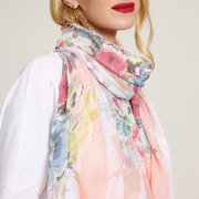 Women Colorful Floral Print Sunscreen Scarves Summer Travel Visor Shawl Scarf