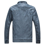 Outdoor Thicken Inside Fleece Multi-Pocket Epualets Motorcycle PU Leather Jacket for Men