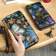 Vintage Genuine Leather National Style Multi-slots Wallet Card Holder Phone Bag For Women