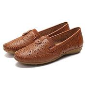 Damen Casual Soft Leder Hohl Slip On Black Flats Schuhe