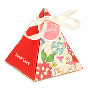 1pcs Wedding Festival Candy Box European Style Triangle Hard Paper Ribbon Party Supplier