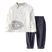 Vintage Chinese Style Boys Girls Retro Design Soft Linen Clothes Set For 2Y-11Y
