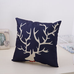 Concise Style Cushion Cover Cute Animal Pattern Linen Decoration Pillowcase Square