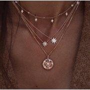 Bohemio de múltiples capas de oro collares rebanada redonda perlas estrellas cadena media luna colgante collar para mujeres