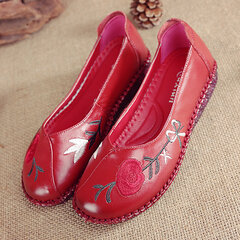 Handmade Leather Embroidered Vintage Casual Flat Loafers