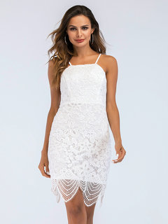 Sexy Backless Lace Asymmetrical Pure Color Mini Dresses