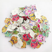 100Pcs Colorful Owl Cute Wooden Buttons Knitting Sewing Buttons DIY Materials