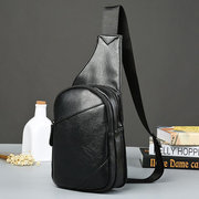 Vintage Outdoor Csaual PU Leather Sling Bag Chest Bag Crossbody Bag For Men