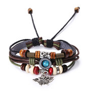Vintage Butterfly Real Cowhide Bracelet Weaving Multi Layer Bracelet Retro Women Bracelet