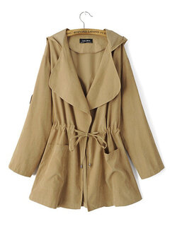 Drawstring Pockets Solid Color Turn Down Collar Trench Jacket