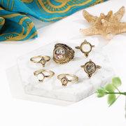 6 قطع خمر المفصل الدائري مجموعة حصوه الهندسي الذهب فنجر خواتم ethnis مجوهرات للنساء