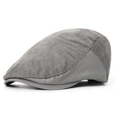 Мужская хлопчатобумажная полосатая беретовая шапка Регулируемая мода Повседневная Твердый Вперед