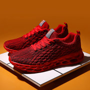 Men Knitted Fabric Breathable Lace Up Casual Running Sports Shoes