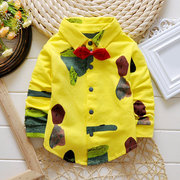Lovely Baby Printed Turn-down Collar Long Sleeve Shirt