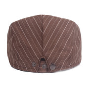 Mens Vintage Washed Stripe Cotton Beret Hat Casual Adjustable Breathable Newsboy Cabbie Cap