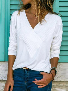 Casual V-neck Long Sleeve Solid Color Shirt