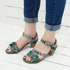 SOCOFY Super Comfy Genuine Leather Fish Scale Pattern Floral Low Heel Hook Loop Sandals