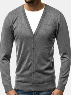 Mens Casual Knit V Cuello Un solo pecho Top Color sólido Cardigan de manga larga