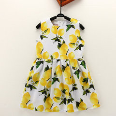 Lemon Pattern Sleeveless O-neck Dress For Children Girls