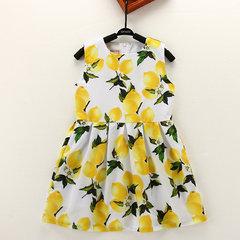 Лимон Шаблон O-образный вырез без рукавов Платье Для детей Девочки