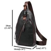 Men Retro PU Leather Crossbody Bag Capacity Leisure Shoulder Chest Bag