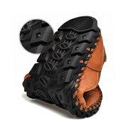 كبيرة الحجم الرجال اليد خياطة الجلود الربط مريح الانزلاق على الأحذية