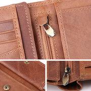 RFID Antimagnetisches echtes Leder Multi-Slot Münzfach Trifold Wallet für Männer