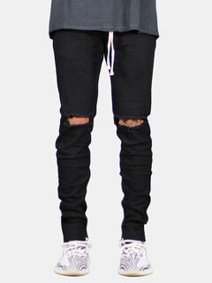 Casual Skinny Knee Hole Zipper Trouser Drawstring Cotton Hip-Hop Jeans for Men