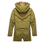 Winter Casual Thicken Detachable Hood Long Jacket for Men