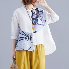Season New Printed Cardigan Loose Large Size Women's Short-sleeved Cotton And Linen Casual Shirt